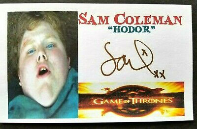 """Game Of Thrones"" Sam Coleman ""HODOR"" Autographed 3x5 Index Card"