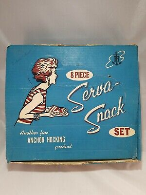 Vintage Anchor Hocking Serva-Snack 8 Piece Tray & Cup Set - Grapes Leaves Vines