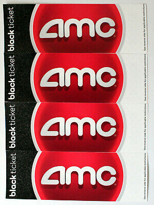 Lot of 4 AMC Black Ticket Movie Theater Gift Certificate Passes No Expiration