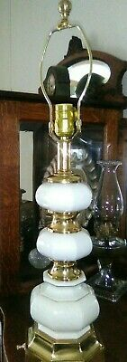 Mid-Century Stiffel White Porcelain & Brass Table Lamp, Hollywood Regency Style