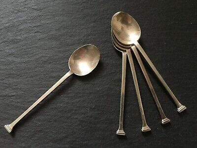 Set Of Five Solid Sterling Silver Nail Head Teaspoons 1926 Art Deco Style Spoons