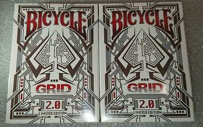 Bicycle (2x) Decks Of GRID 2.0 Playing Cards Sealed Uspcc