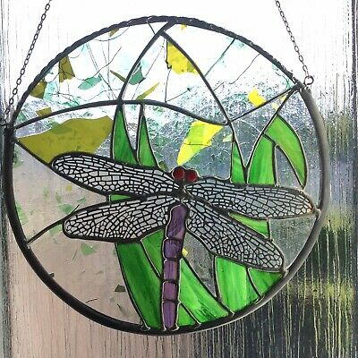 Circular Stained Glass Dragonfly Panel