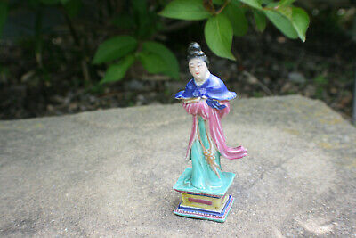 Small Chinese Porcelain Pottery Hand Painted Woman Lady Figure Statue - Marks
