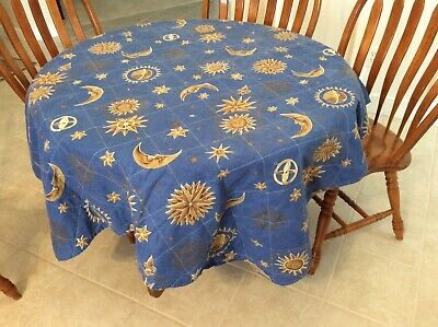 Vintage Blue Celestial Oblong Quilted Tablecloth