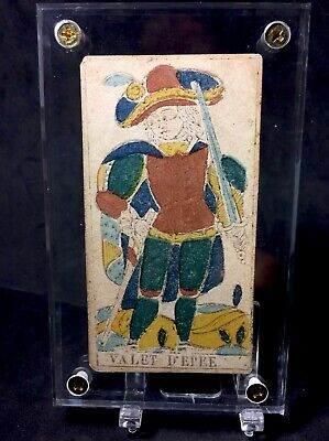 Authentic c1775 Antique Tarot Playing Cards Arcana Woodblock Printed Rare Single