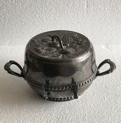 Antique Vtg James Tufts #3810 Quadruple Silverplate Covered Butter Dish Bowl