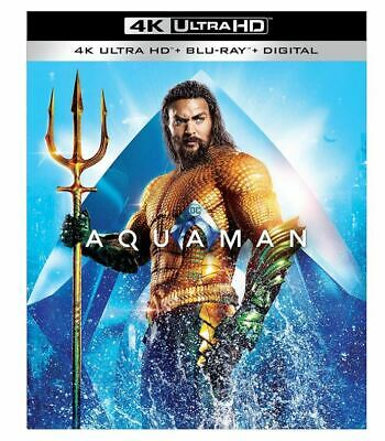 Aquaman Ultra HD 4K 2-Disc Blu-ray Digital Jason Momoa Amber Heard Wilson Kidman