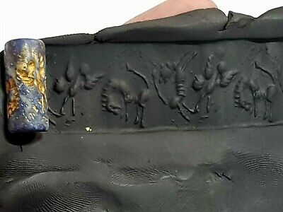 Fantastic Extremely Rare Ancient Cylinder Seal Lapis Lazulli .7,1 Gr.25 Mm