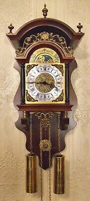 Vintage Dutch Hermle Bell Ring Wall Clock With Moonphase - Perfect Working Order