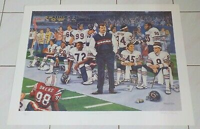 2c51370ac Mike Ditka Signed Poster Print Artist Michael Taylor Chicago Bears Limited  1985