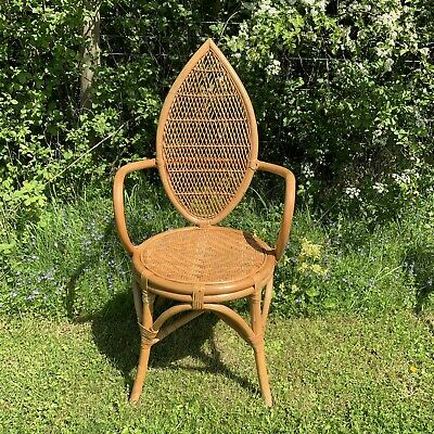 2 x Vintage Tiki Bamboo & Wicker / Rattan Dining Chairs -High Back, Carver, Arms