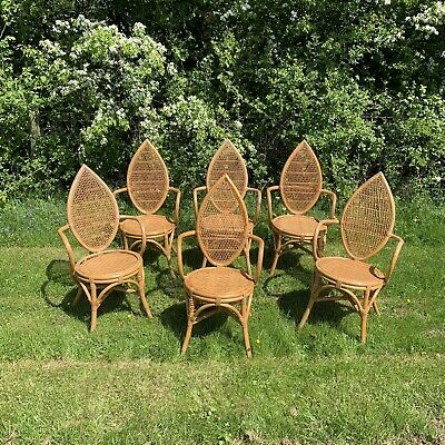 6 x Vintage Tiki Bamboo & Wicker / Rattan Dining Chairs -High Back, Carver, Arms