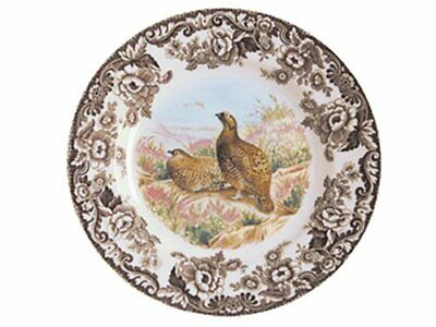 """Spode Woodland Red Grouse Motif Dinner Plate 10"""" Earthenware Brown"""