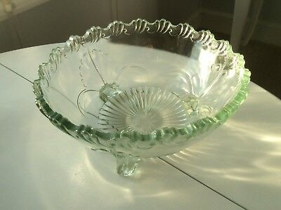 Light Green, Scalloped Edge, Depression Glass, Footed Bowl