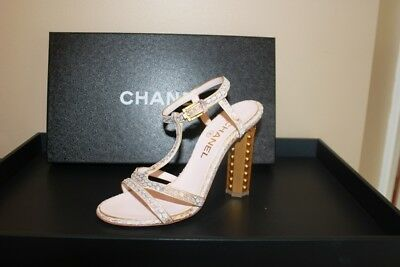 c060a2e528 Chanel Python Gold Pearl Heels CC Sandals Shoes BNIB NEW 37.5 7.5 7 37  Wedding