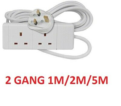 2 Gang OR 2 Way 2M OR 5M Long Lead Uk Plug Extension Cable Socket Cord CE UK