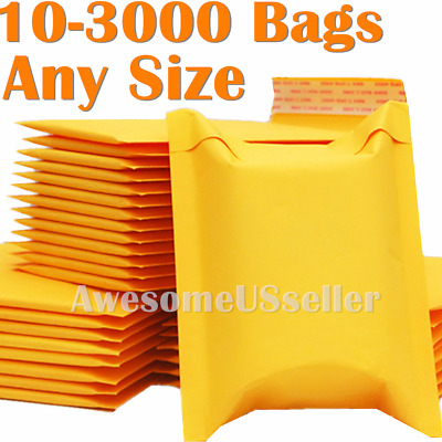 100/4000 Kraft Mailer Bubble Mailers Padded Envelope 6x9 8.5x11 9x12 5x7 3x5 4x6