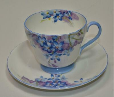 Vintage SHELLEY Bone China England Blue SPRAY #13634 Set Cup & Saucer