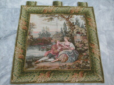 4988 -Old French / Belgium Tapestry Wall Hanging - 87 x 88 cm