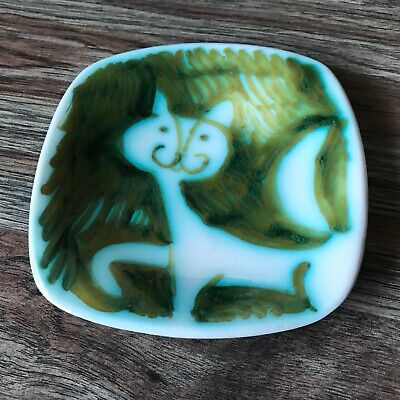 Alessio Tasca Faience Square Cat Dish Green White Mid Century Pottery Italy
