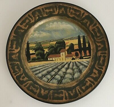 """Tam San Designs Plate Tuscan Theme French Country Signed 10"""" Round"""