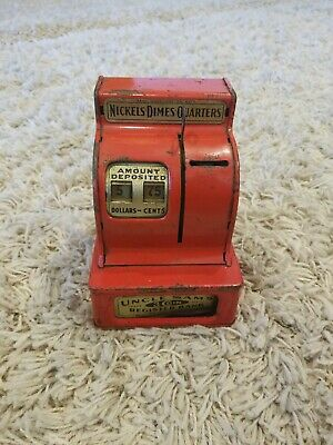 Vintage Red Uncle Sam's Trade Mark 3 Coin Register Bank Western Stamping Corp.