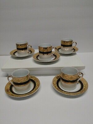 10 PC Set Nour China Gold & Black Cup Saucer Demitasse Expresso Mini Tea Coffee