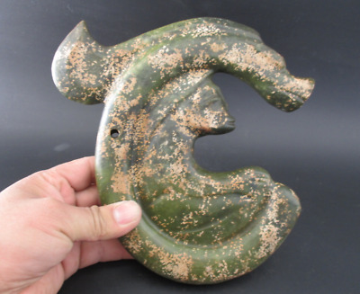 Antique China Hongshan Culture Old Jade Carved dragon and sun god Statue 1143g