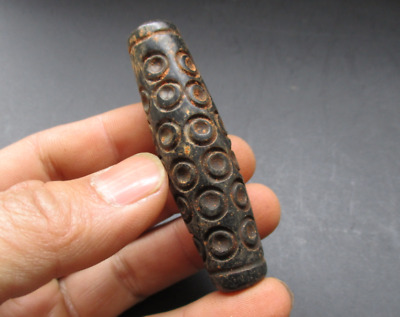 Ancient Chinese Hongshan Culture Old jade(black magnet) Day bead amulet Pendant