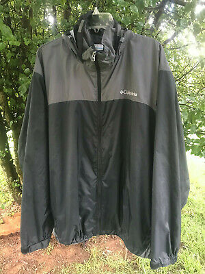Columbia Glennaker Packable Rain Jacket / Wind Jacket Black & Gray Men's XXL