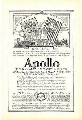 1925 Vintage Ad Apollo Galvanized Sheets Alloy of Copper and Steel Roofing