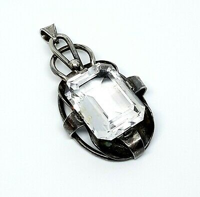 Antique Victorian 935 Sterling Silver German Rock Crystal Emerald Cut Pendant XL