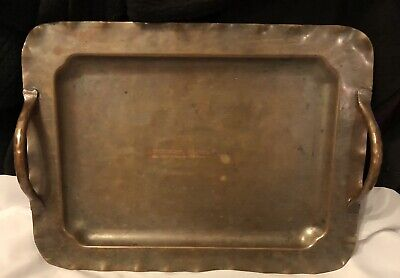 "Arts & Crafts HAMMERED SMALL COPPER TRAY PLATTER w/ HANDLES 10.5"" Vintage Old NR"