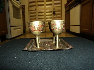 Vintage Brass Miniature Goblets with Serving Tray