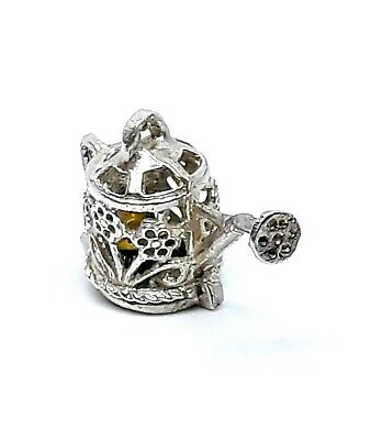 RARE Vintage Sterling Silver Flower Pot OPENS to Reveal Enameled Flower Charm