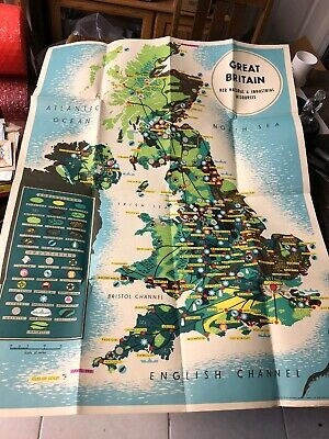 "Vintage Giant Map Of Great Britain Her Natural & Industrial Resources  30"" X 40"""