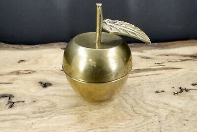 Vintage Brass Apple Fruit Lidded Trinket Box Container India 3""