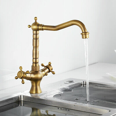 Traditional Victorian Kitchen Taps Sink Mixer Twin Lever Vintage Brass Faucet