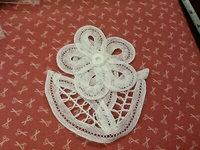 3 Handmade Cotton Flower White Appliques Made From Battenburg Lace - New – SM5