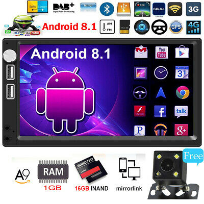 7In 2DIN Android 8.1 4-core Car Stereo MP5 Player GPS WiFi BT FM Radio+Camera