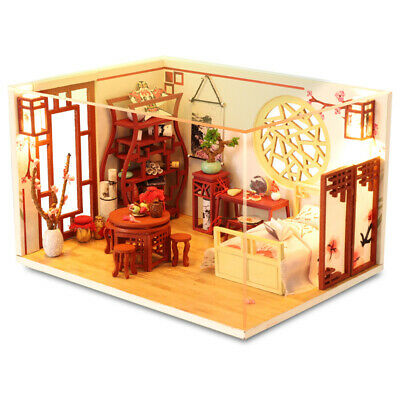 Miniature Chinese Style Wooden Furniture Dollhouse LED Kits Dust Cover Xmas Gift
