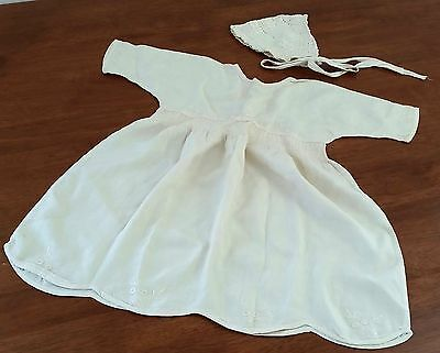 Vintage 40s HAND SEWN Spun SILK CREAM Embroidered BABY DRESS Crochet BONNET Set