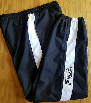 6722a75a58d9 VTG Fila Track Pants Trousers Black White Ankle Zipper Warm Up Sweatpants