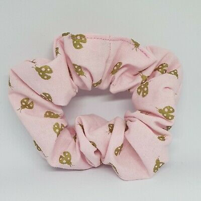 Pink Ladybug Ladybird Scrunchie Hair Bow Ponytail Holder Hair Tie Dance Braids