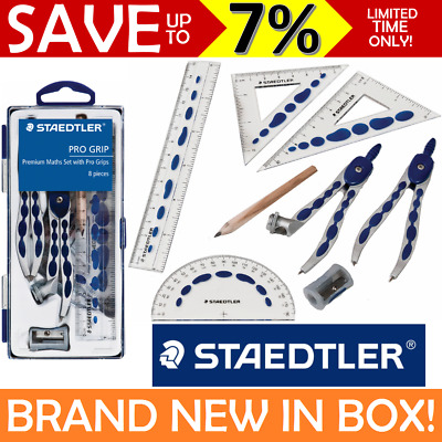 STAEDTLER Geometry Set Kit Pro Grip 8pcs Compass Protractor Ruler Maths School