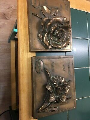 Wall Plaques X2 Stunning Floral Bronze Effect By Hen Feathers Rose And Daffodil