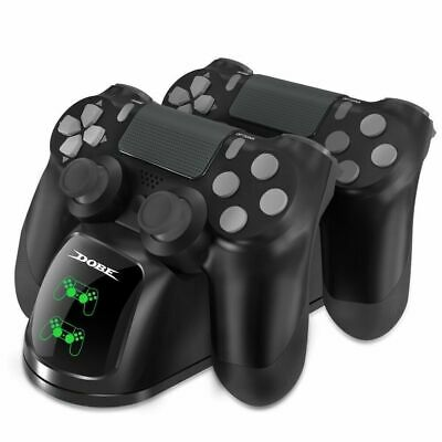 Dual Charger für PS4 Controller Doppel Lade Station Dock Ladegerät Standfuß LED