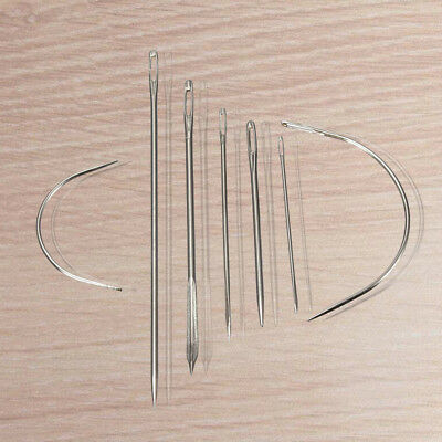 7 Repair Sewing Needles Curved Threader for Leather Canvas Stainless Steel R5Y2