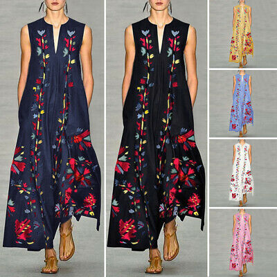 Mode Femme Robe Maxi Summer Sleeveless V Neck Floral Cocktail Party Dress Plus